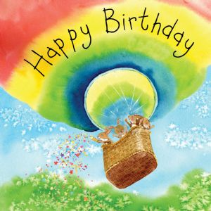 FIZ44  Happy Birthday Card Rabbits